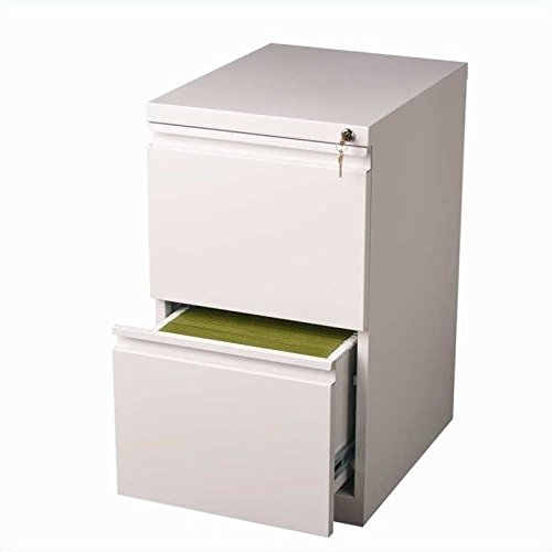 Hirsh Industries 20'' Deep File-File Mobile Pedestal in White by Hirsh Industries