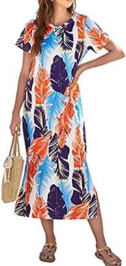 Naggoo Women's Short Sleeve Split Maxi Dress Casual Plain Tie Dye Print Tshirt Long Dresses with Poc