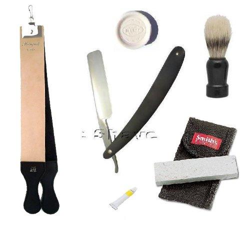 Black Straight Razor Double Strop Paste Stone Shaving Set 6 Pcs