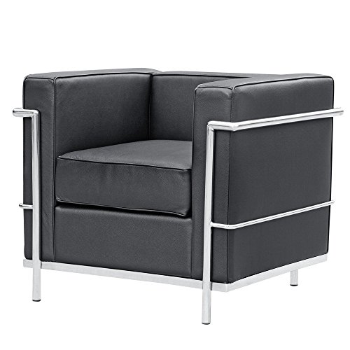 Mid Century Modern Classic Le Corbusier LC-2 Style Replica Cube Sofa Chair (1 Seater) With Premium Black Genuine Leather and Encasing Stainless Steel Frame