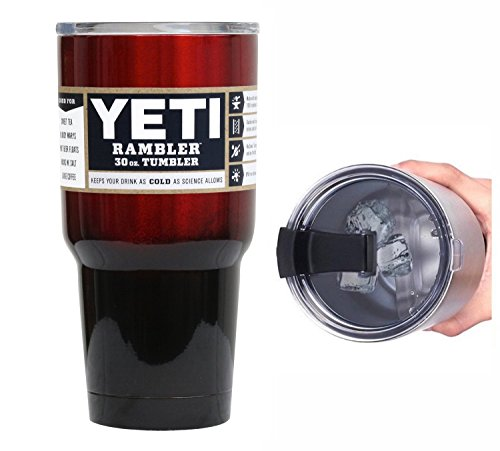 YETI Coolers 30 Ounce (30oz) (30 oz) Custom Rambler Tumbler Cup Mug with Exclusive Spill Resistant Lid (Red Metallic Black Ombre)