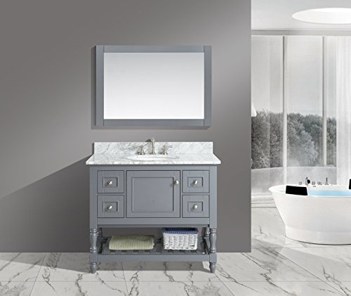 UrbanFurnishing.net - Silvia 42-Inch (42'') Bathroom Sink Vanity Set with White Italian Carrara Marble Top - Charcoal by UrbanFurnishing