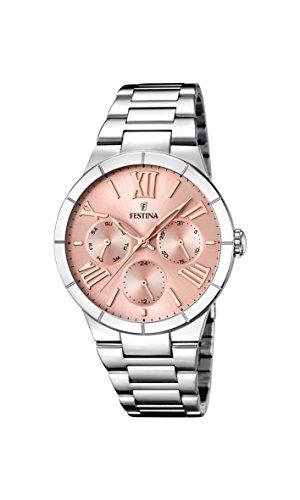 Festina-F167163-Reloj-de-cuarzo-para-mujer-con-correa-de-acero-inoxidable-color-plateado