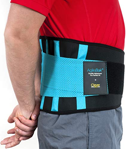 Clever Yellow Back Support Belt, Lower Back Brace - The Only Certified Medical-Grade Lumbar Belt for Pain Relief and Injury Prevention, Double Adjustment, AgileBak, 4 Sizes