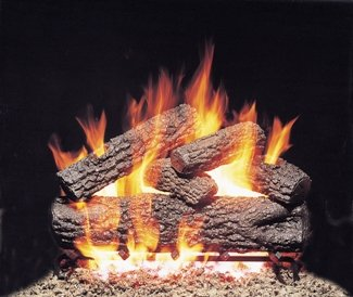 ''R.H. Peterson POG4-30 - 30'''' Post Oak Vented Gas Logs with Burner for Natural Gas Fireplaces.'' by Peterson Gas Logs