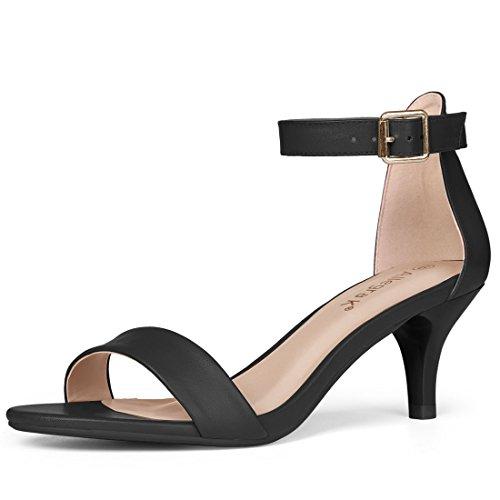Damen K Ansatz Sandalen Sandalette Kitten Allegra Knöchelriemen Zehe Gurt Offen Schwarz 7qwdC5C