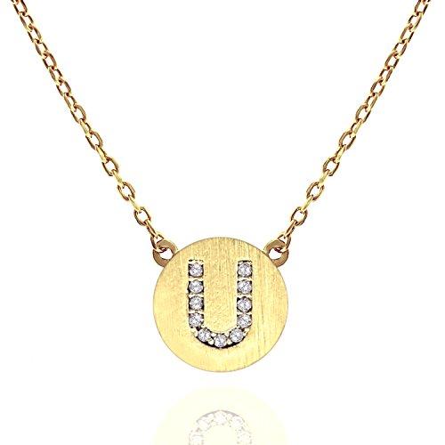 PAVOI 14K Gold Plated CZ Simulated Diamond Alphabet Disc Initial Pendant Necklace 16-18