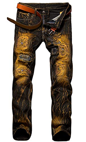 ADELINA Pantalones De Denim De Los Hombres Look Destruido Biker Pantalones Ropa De Mezclilla Elástico De La Vendimia Denim Hig Ripped Pantalones De Mezclilla Pantalones Casuales 9890gelb