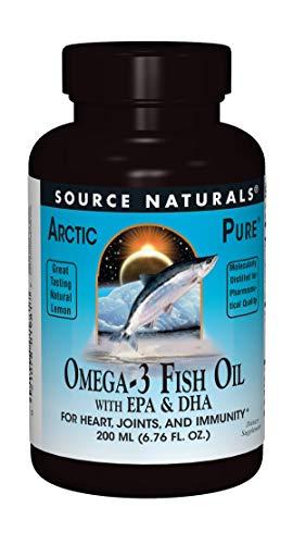 Source Naturals ArcticPure Omega-3 Fish Oil Liquid Maximum Potency EPA + DHA For Heart, Joint, Brain & Immune Health - Non-Fishy Lemon Flavor - 6.76 oz