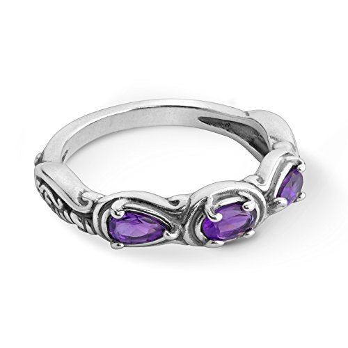 - Carolyn Pollack Sterling Silver Purple Amethyst Gemstone 3 Stone Ring Size 8