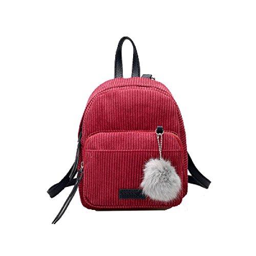 Yy.f Mini Pana De Dos Espaldas Color Salvaje Bulbo Piloso Mochila Pequeña Sólido Bolso Simple Salvaje Color 3 Red