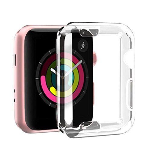 for iWatch Clear Protector Case HP95(TM) Soft Ultra-Slim Clear Full Cover TPU Case Frame For Apple Watch Series 2/3 42mm & 38mm-360 Degree Full Protection (For iWatch Series 2/3 42mm) by HP95 (Image #5)