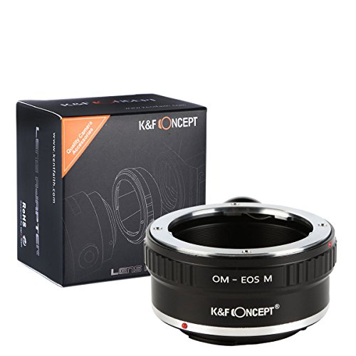 K&F Concept Lens Mount Adapter with Tripod for Olympus OM Manual Lens to Canon EOS M EF-M Mirrorless Camera