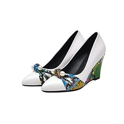 The old tree 2019 Women High Heels 80Mm Wedge Pumps Pearls Python Pattern Wedding Fashion Party Dress Shoes Office Footwear,White,5
