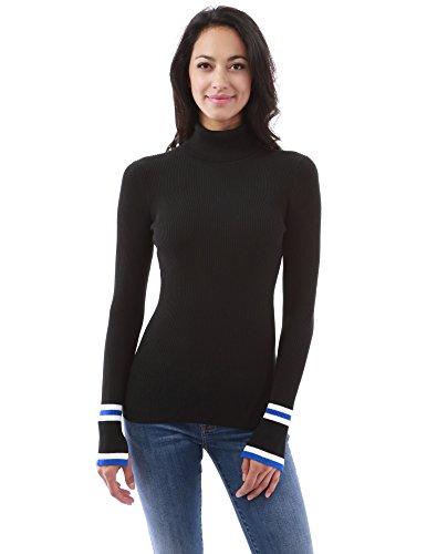 PattyBoutik Women's Long Sleeve Striped Split Cuff Sweater (Black L)