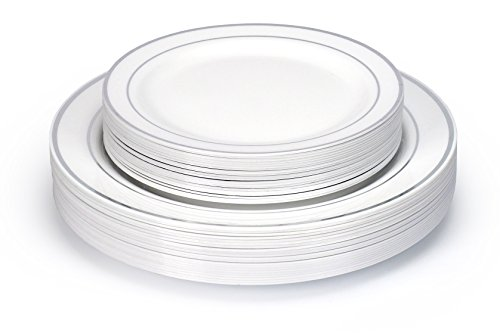 Fancy Combo 40 Disposable Plastic Plates (20 Appetizer + 20 Dinner) China look, Elegance Dinning Experience, Hassle Free Cleanup, Heavy Duty, Host Extravagant Party In Budget (Silver Ring)