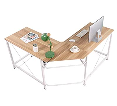 """Mr IRONSTONE L-Shaped Desk Corner Table Computer Desk 59"""" PC Laptop Study Writing Table Workstation for Home Office"""