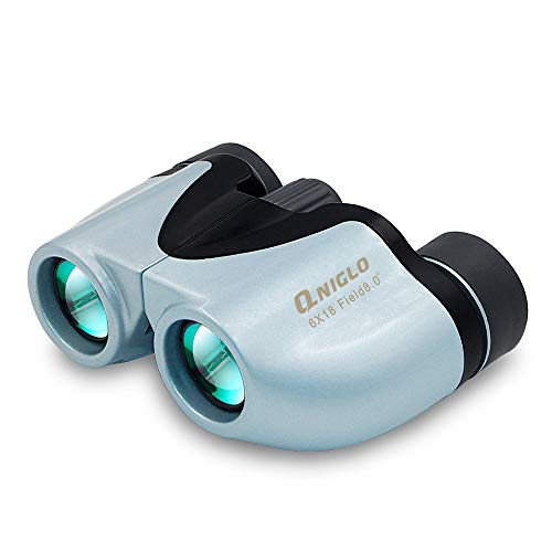 QNIGLO 6X18 Kids Binoculars Toys for 3-12 Years Old Kids Folding Compact High Resolution Real Optics Binoculars Set for Bird Watching Outdoor Sport Games for Boys Girls(Blue)
