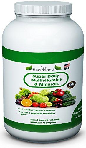 Чистый Healthland Премиум Супер Daily Мультивитамины Дополнение - 21 важнейших витаминов и минералов Plus Запатентованная смесь из 42 фруктов и овощей Super Foods с эфирными антиоксидантами. Поддержание крепких костей. Поддержка производства энергии. Сайт