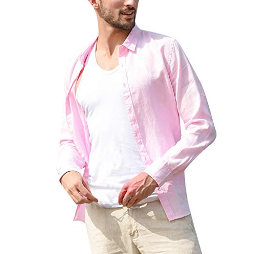 (Benficial Men's Baggy Cotton Linen Solid Long Sleeve Button Retro Turn-Down Collar Shirts Pink)