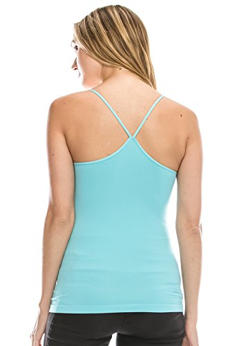 (Kurve American Made Y-Back Spaghetti Strap Basic Cami, UV Protective Fabric UPF 50+ (Made with Love in The USA) Aqua )