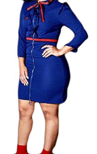 Coolred Colore Con Scontro Cinghietti Di Di Blu Giunzione Del donne Di Cerniera Metà Lunghezza Vestito rqCwrU