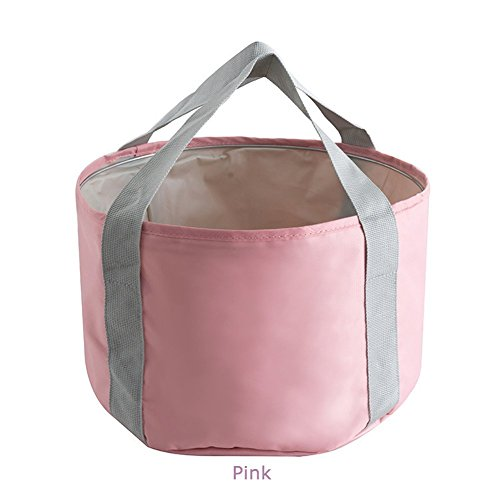 Folding Wash Basin Portable Travel Outdoor Bucket for Camping Hiking Washing Fishing (Pink) Above Counter Washbasin