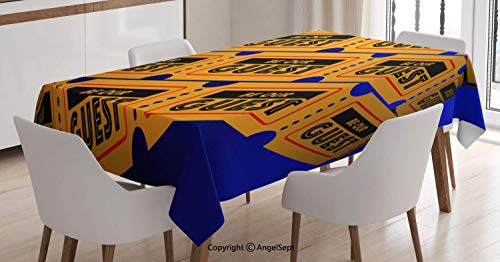 Rectangle Printed Tablecloth,Event Party Theatre Invitation Tickets 3D Illustration Contest Winning Lottery,for Indoor Outdoor Kitchen Dinning,Multicolor,5270 inch