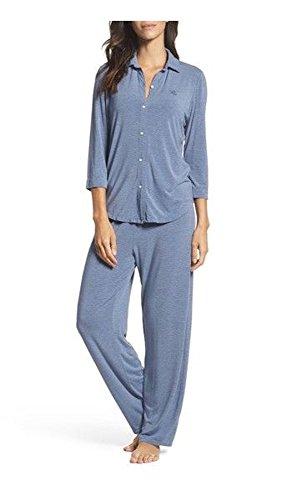 - Lauren Ralph Lauren Women Striped Jersey Pajama Set, Blue/Grey (M)