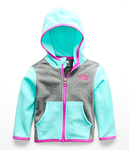 Blue Embroidered Hooded Sweatshirt - The North Face Infant Glacier Full Zip Hoodie - Mint Blue - 12M