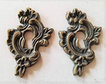 Brass Keyhole Covers Escutcheons Set of 6 Jewelry Victorian Earring Size