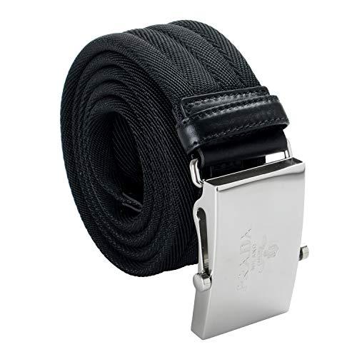 (Prada Leather Trim Black Men's Belt Sz US 40 IT 100)