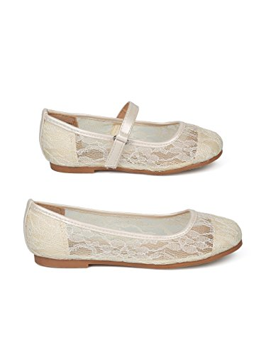 Alrisco Lace Mesh Capped Toe Ballet Flat HF24 - Ivy Mix Media (Size: Big Kid 4) by Alrisco (Image #1)