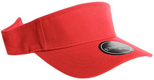 Enimay Sports Tennis Golf Sun Visor Hats Adjustable Velcro Plain Bright Colors Red