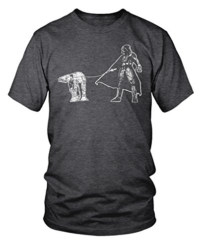 Darth Vader Walking a Pesky AT-AT on a Leash Funny Star Wars T-Shirt XL