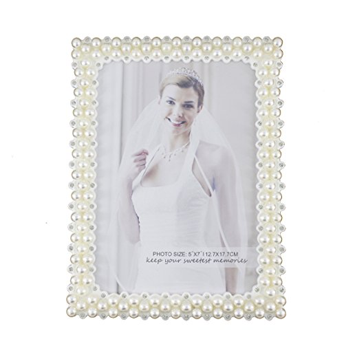 - Romantic White Pearl and Crystal Decorated Plastic Family Picture Frame (5x7, Rectangular)