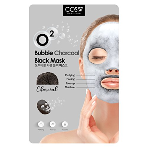 COS.W Charcoal O2 Bubble Face Mask Moisturizes, Tones and Purifies (10 Sheets) ()
