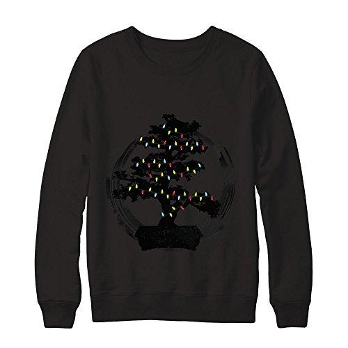 Teely Shop Men's Woman's Bonsai Tree Enso Circle Lights Christmas Gildan - Pullover (Cool Names For A Halloween Party)