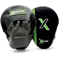 Xpeed Xtreme Curved Hook/Jab/MMA Focus Pads/Punch Mitts Pair - PVC Material (Black and Green)