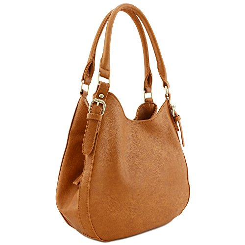 Light-weight 3 Compartment Faux Leather Medium Hobo Bag Tan