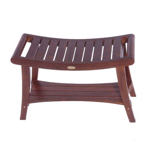 DecoTeak Harmony 30'' Teak Shower Bench With Shelf And LiftAide Arms by Decoteak