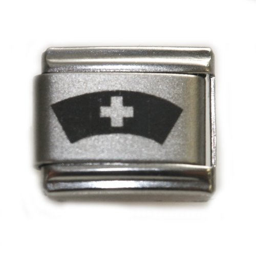 Zoppini Stainless Steel Ring (Nurse Cap hat Italian Link Bracelet Charm)