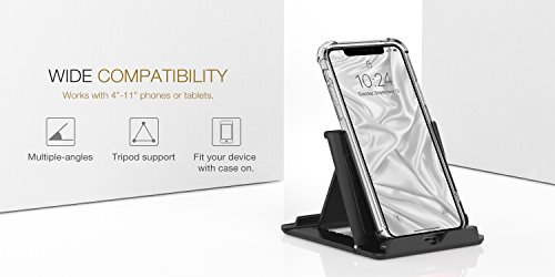 "MoKo Phone/Tablet Stand, Foldable Desktop Holder Fit with iPhone 11 Pro Max/11 Pro/11, iPhone Xs/Xs Max/Xr/X, iPhone SE 2020, iPad Pro 11 2020/10.2/Air 3/Mini 5, Galaxy S20 6.2"", Black"