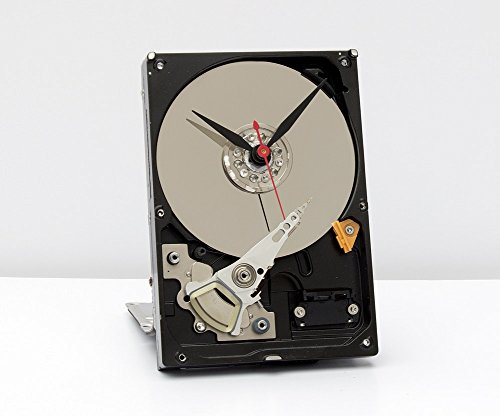 Computer parts clock, Recycled Computer Hard Drive Clock, computer geek gift, steampunk clock, industrial design clock, re purposed computer parts clock