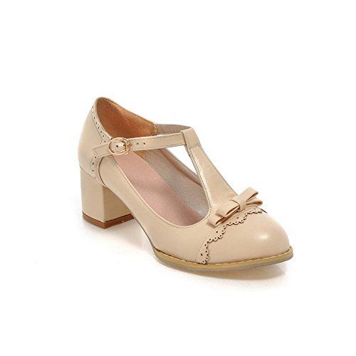 Balamasa Hebilla De Mujer Zapatos De Tacón Bajo Sólido Bombas-zapatos, Beige (albaricoque), 35