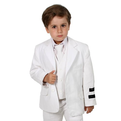 JL5026 WHITE Cotton/Linen Boys Summer Suit From Baby to Teen (12) Fully Lined Linen Suit