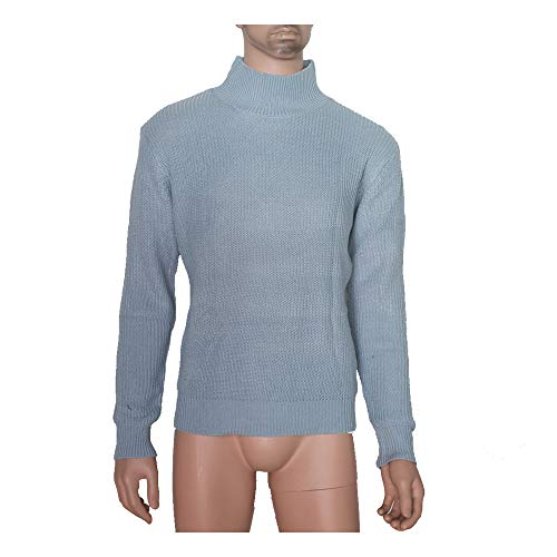 - Hirate Men's Long Sleeve high Collar Pullover Knitted Sweater Casual Cardigan Solid Color Tops (Sky Blue, L)
