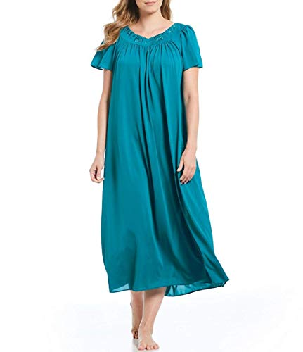 Miss Elaine Tricot Nightgown, Long Sleep Dress with Comfortable Lightweight Fabric, Flutter Sleeves (Small, Teal) ()