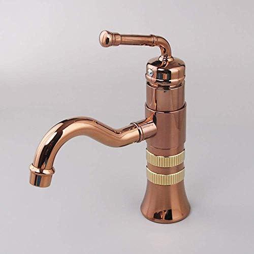 S-TING 蛇口 バスルームのシンクは、スロット付き浴室の洗面台のシンクホットコールドタップミキサー流域の真鍮シンクミキサータップアンティークヨーロッパのロータリーブロンズ流域の蛇口全銅ブラックホットとコールドカウンター洗面蛇口タップ 水栓金具 立体水栓 万能水栓