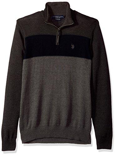 U.S. Polo Assn. Men's Color Block 1/4 Zip With Microsherpa, Charcoal Heather, (1/4 Zip Color)